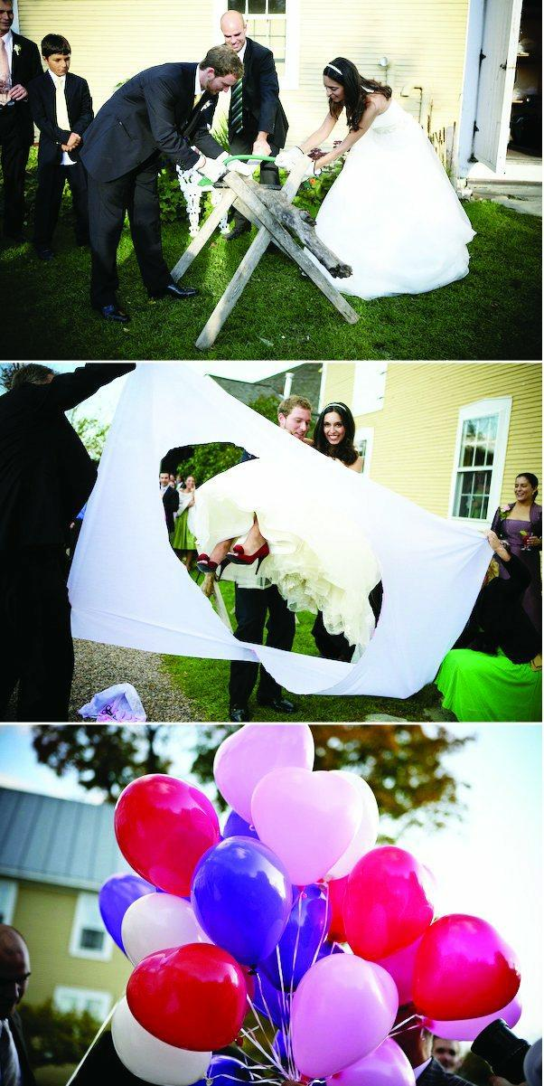German traditions log sawing stepping through sheet balloon send-off